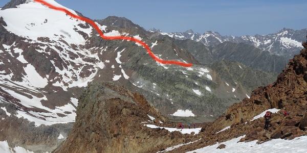Routenverlauf von der Seescharte zum Gipfel