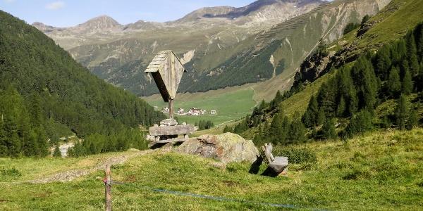 Ausblick von der Melager Alm ins Langtauferer Tal.
