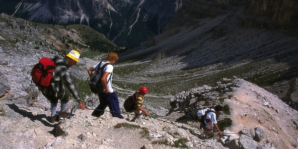 On the not difficult part of the via ferrata in the Val Gardena region.