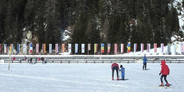 Die Biathlon Arena in Antholz - alljährlicher Treffpunkt der weltbesten Biathleten.