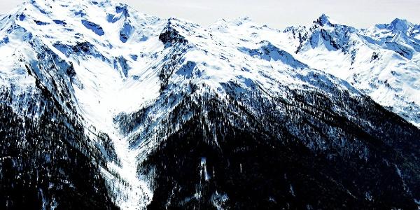 The second peak from the left, La Calva.
