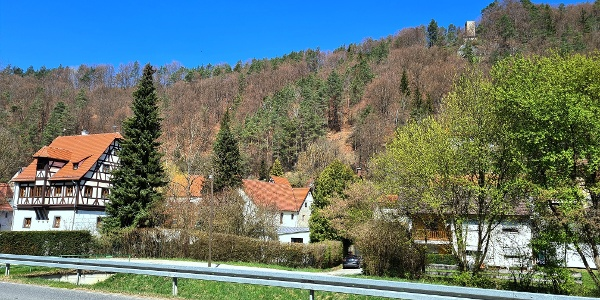 Hirschbach  -  links Hammerschloß , oben Prinzregent-Luitpold-Turm