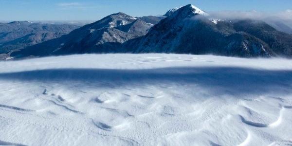 Bei der Schlehdorfer Alm packt der Schneewind hart zu.