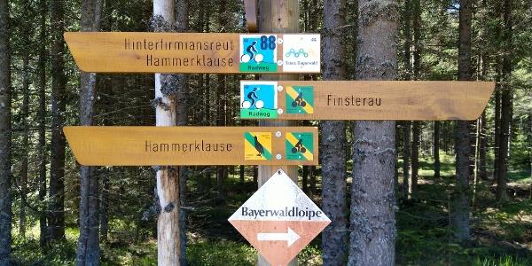 Die Wander- und Radwege sind vorbildlich ausgeschildert. Unser 1. Ziel: die Hammerklause