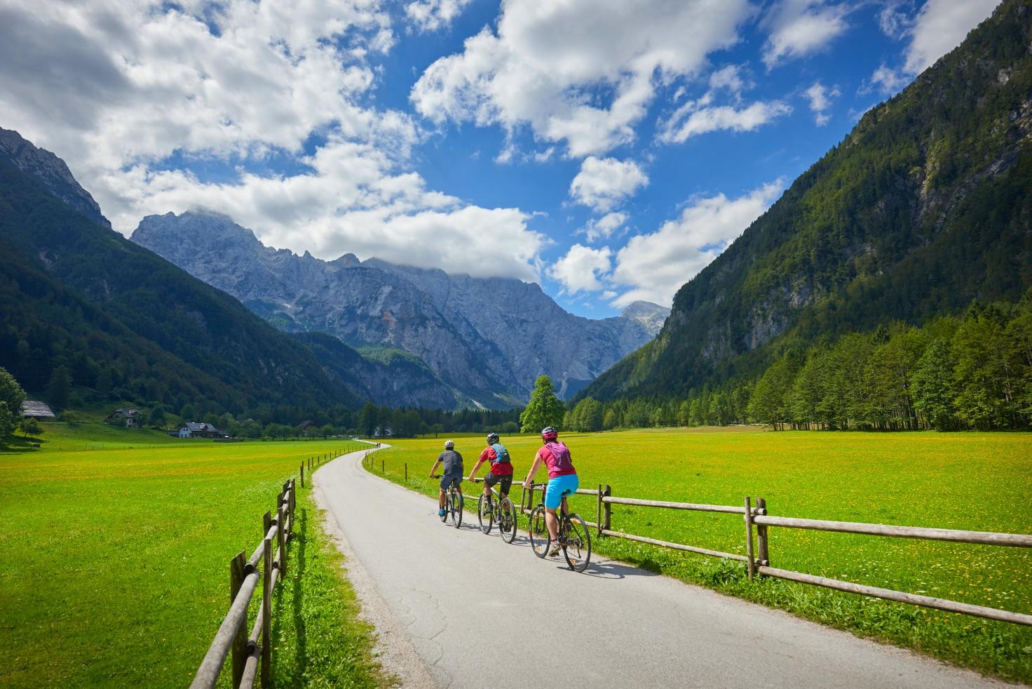 Radfahrer in Logarska dolina