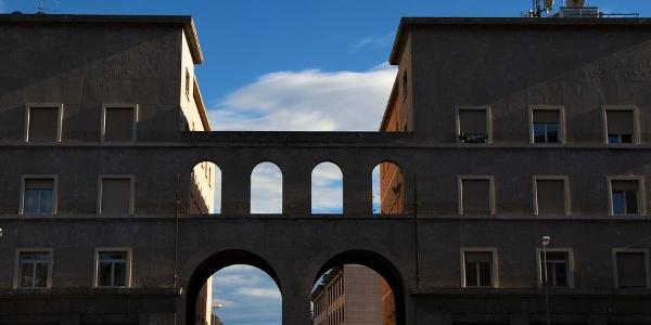 The Piazza Vittoria (Victory) square in Bolzano impresses with formal rigor.