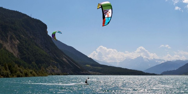 The Reschensee - lake Resia, today known destination for water sports enthusiasts