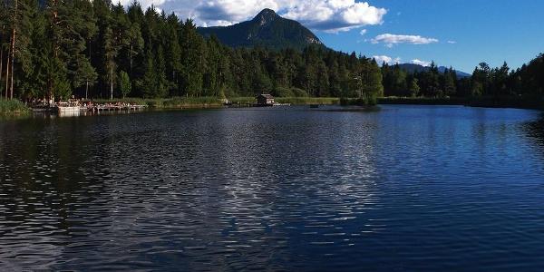 The romantic small lake of Fiè allo Sciliar
