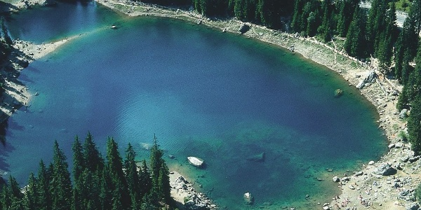 Karersee - Lake Carezza in an aerial view
