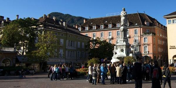 The marble Walther von der Vogelweide in the heart of Bozen - Bolzano