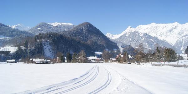 Mühlbachrunde mit Blick Richtung Krista Kopf und Vandanser Steinwand