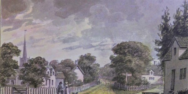Humphrey Reptons sketch of the village 1792- Spinneys and Coverts Walk