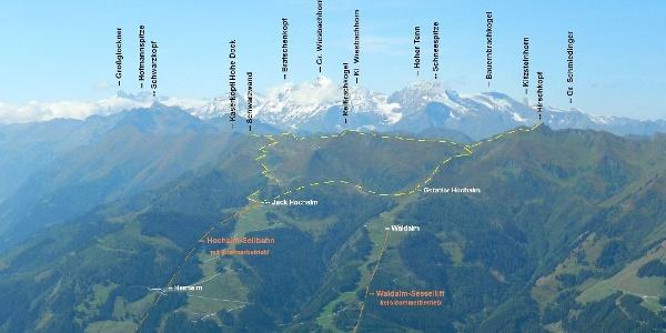 Blick vom Grubereck übers Rauristal zu unserer Tour