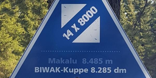 Biwak-Kuppe Schild - 14 Achttausender