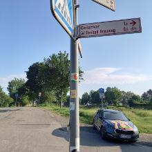 Einzige Piktogramm in der Stadt Göttingen zum Hinweis auf den Radweg
