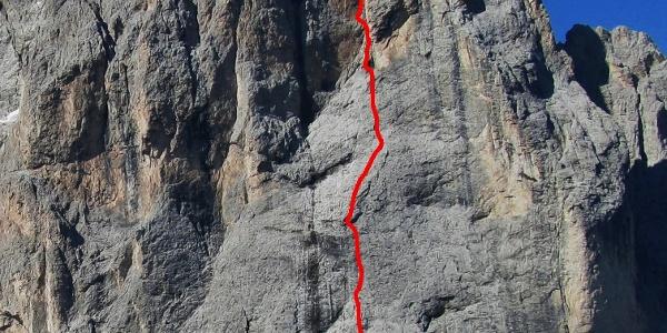 """Routenverlauf der """"Manuel Moroder"""" (VI) an der Langkofel-Nordostwand"""