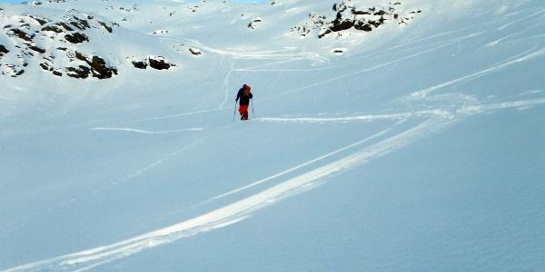 Am Weg zur Engstelle in der Nordwand, dort ist auch der steilste Abschnitt der Wand (kurz knapp an die 40 Grad).