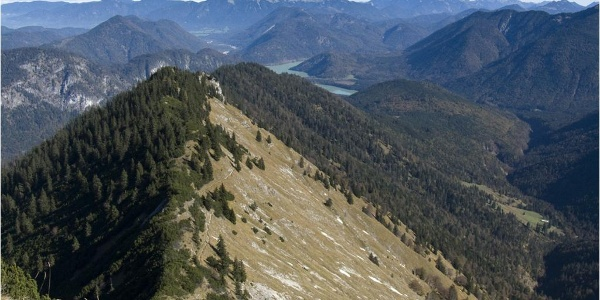 Gipfelschau nach Nordosten über die Pirschschneid bis zum Sylvensteinspeicher