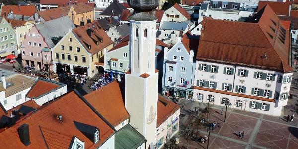 Erding Schrannenplatz vom Stadtturm aus