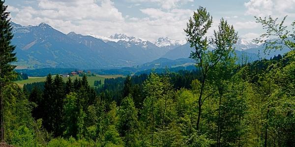 Blick nach Süden auf die Oberstdorfer Alpen