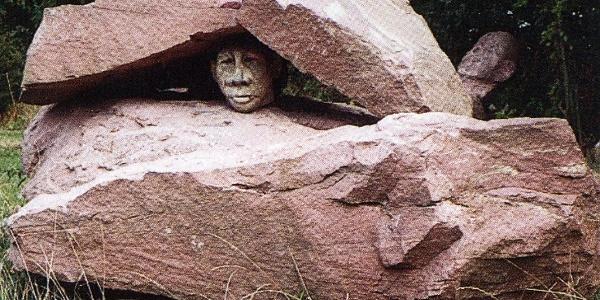 Skulptur Steine und Kopf