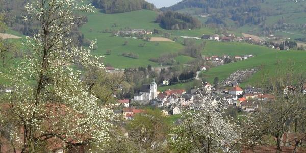 Von St. Nikolai aus ist Steinbach mit seinem markanten Friedhof gut erkennbar.