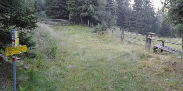 Weidezaunabsperrung kurz nach der Troghütte.