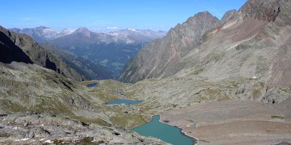 Talblick zur den drei Seen und der Nossberger-Hütte