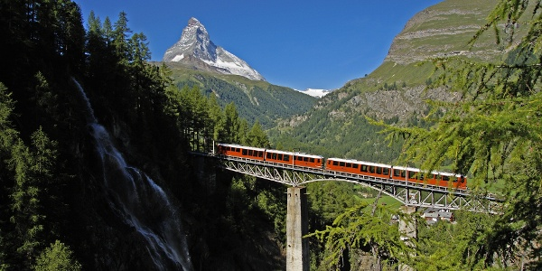 Ride on the Gornergrat Bahn cog railway over the Findelbach bridge