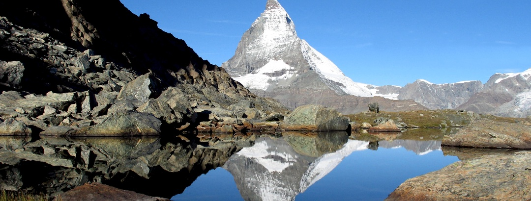 Riffelsee lake with reflection of the Matterhorn