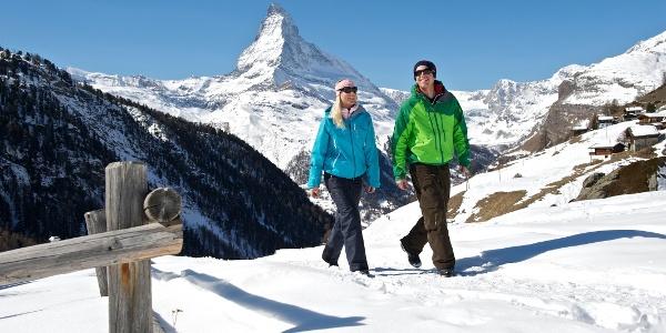 Winterwanderweg Zermatt - Sunnegga mit Blick aufs Matterhorn (4'478 m)