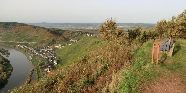 Looking from the Burgberg over Ürzig and beyond the ridge of the Moselle hills into the Wittlich Valley