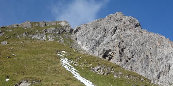 Einschartung zwischen Vor- und Hauptgipfel der Hochkünzelspitze