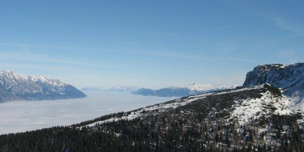 Herrliche Ausblick in Inntal und dem Karwendelgebirge.