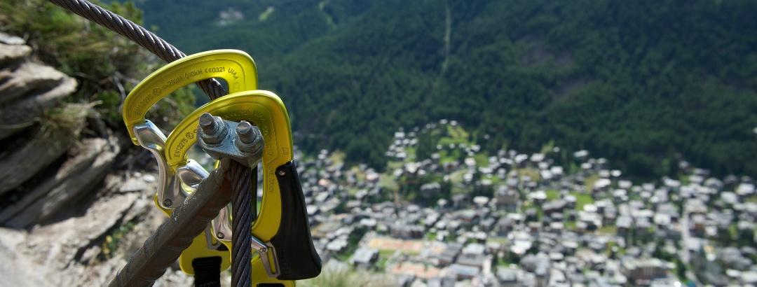The via ferrata Schweifinen above Zermatt's rooftops