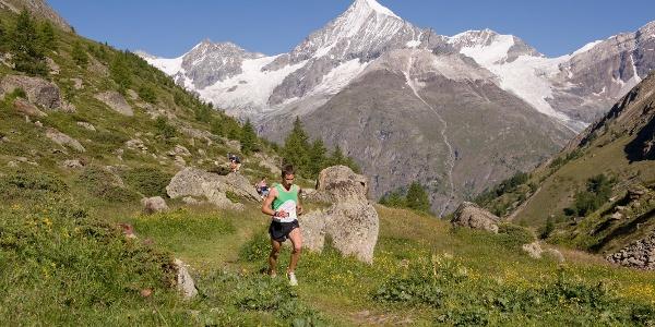 Les participants, peu avant d'atteindre Täschalp